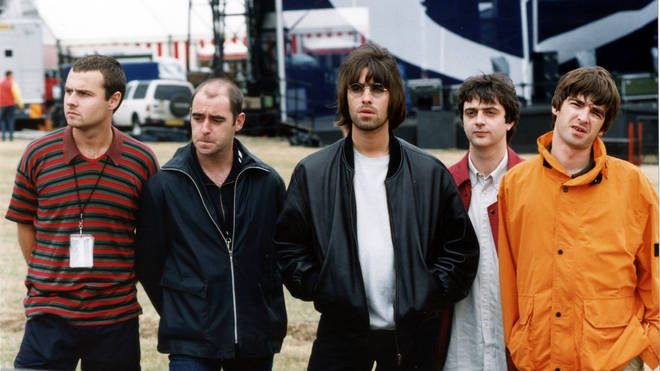 Oasis before their Knebworth show in 1996