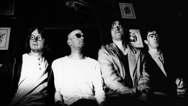 R.E.M. in 1993:  Mike Mills, Michael Stipe, Peter Buck, Bill Berry