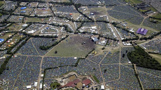 Glastonbury festival from the air in 2004