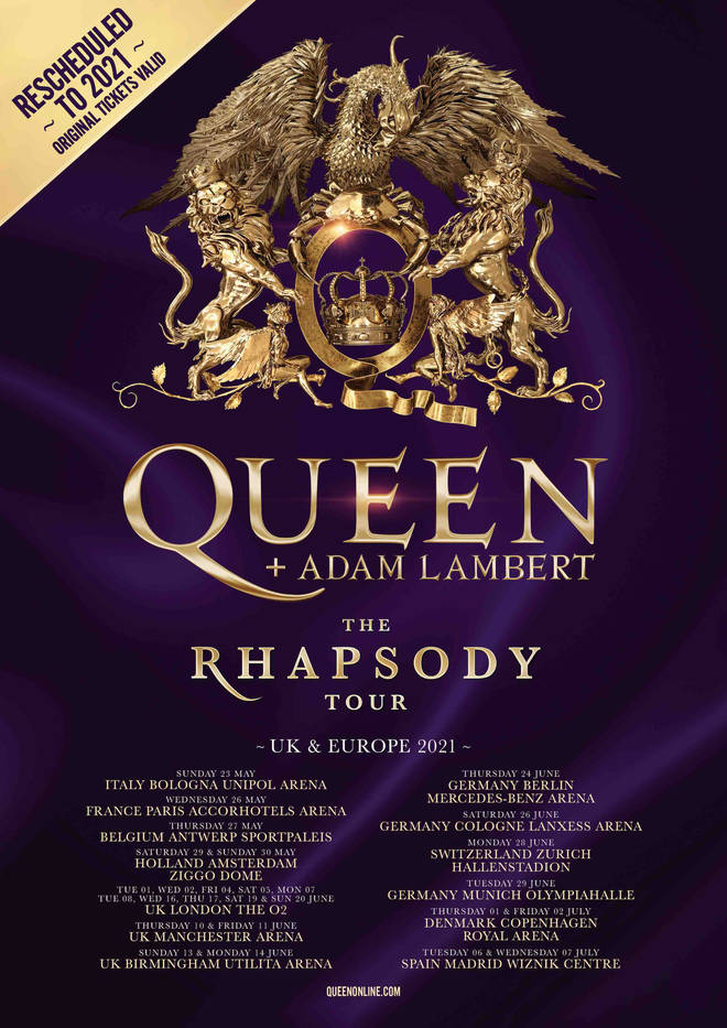 Queen + Adam Lambert's The Rhapsody Tour 2021 rescheduled dates