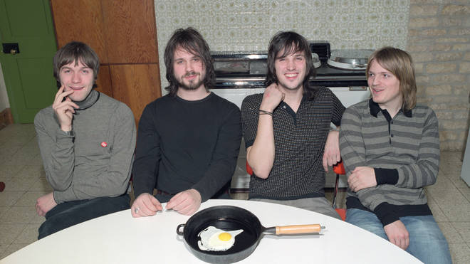 Kasabian pose at a studio session at The Plaggey Bag Ranch on Januray 28, 2004 in Leicestershire