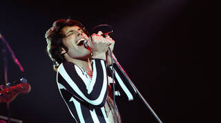 Freddie Mercury of Queen performs live at The Oakland Coliseum in 1977 in Oakland, California, 1977