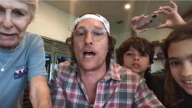 Matthew McConaughey and his family host rounds of virtual bingo to senior residents in Texas