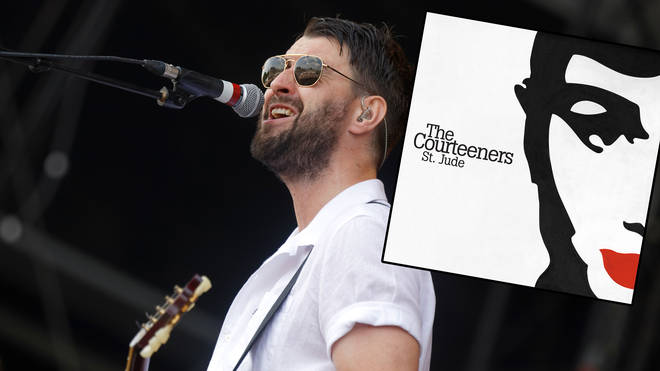 Courteeners frontman Liam Fray with an image of Courteeners' St. Jude inset