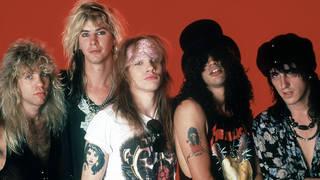 Guns N' Roses classic line-up of Drummer Steven Adler, Duff McKagan, frontman Axl Rose, guitarist Slash and guitarist Izzy Stradlin