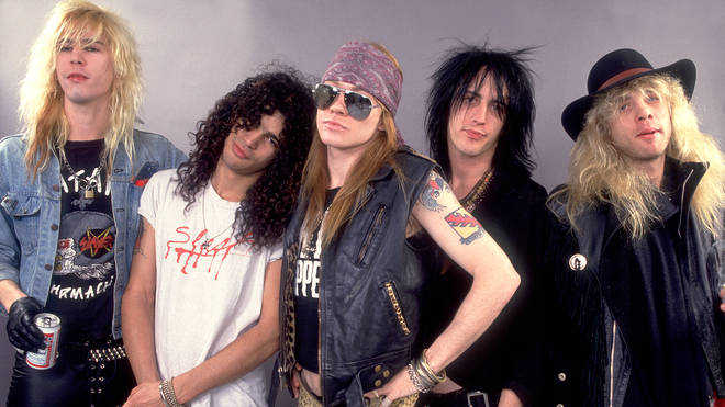 Guns And Roses (Duff McCagan, Slash, Axl Rose, Izzy Stradlin, Steven Adler) at the UIC Pavillion  in Chicago, Illinois