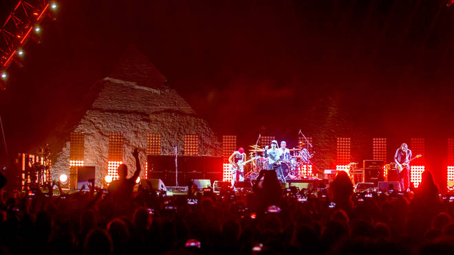 Red Hot Chili Peppers perform at the Giza Pyramids outside Cairo, March 2019