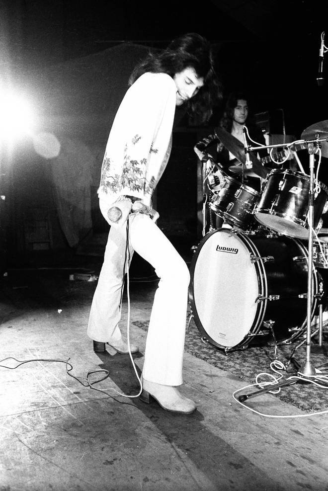 Freddie Mercury wearing his Alan Mair boots onstage during rehearsals for Queen's first major tour, 8 July 1973