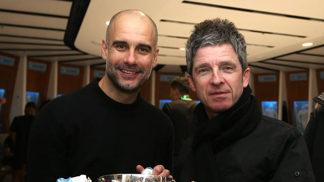 Noel Gallagher and Pep Guardiola at Wembley Stadium after Man City's victory in the Carabao Cup Final against Aston Villa