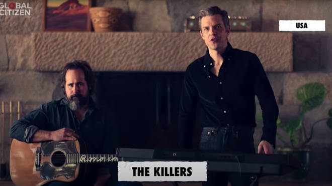 The Killers' drummer Ronnie Vanucci Jr. and frontman Brandon Flowers perform Mr. Brightside at the One World: Together At Home concert