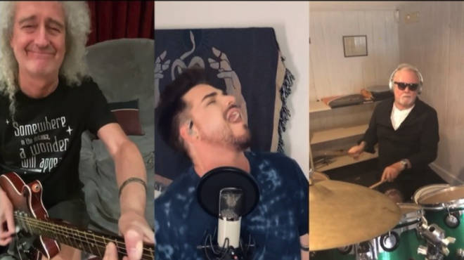 Queen guitarist Brian May, Adam Lambert and Queen drummer Roger Taylor perform We Are The Champions on Instagram