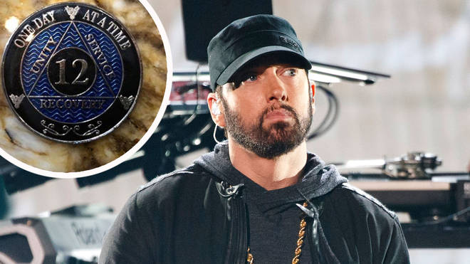 Eminem at the 2020 GRAMMYs with his 12 year sobriety coin inset