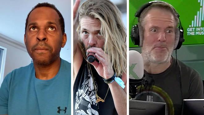 Andi Peters, Foo Fighters drummer Taylor Hawkins and Chris Moyles