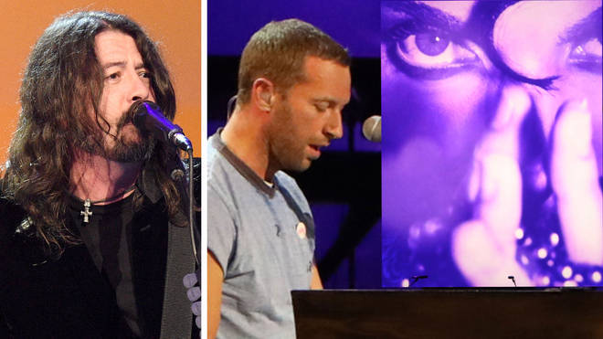 Foo Fighters Dave Grohl and Chris Martin at Let's Go Crazy The GRAMMY Salute to Prince