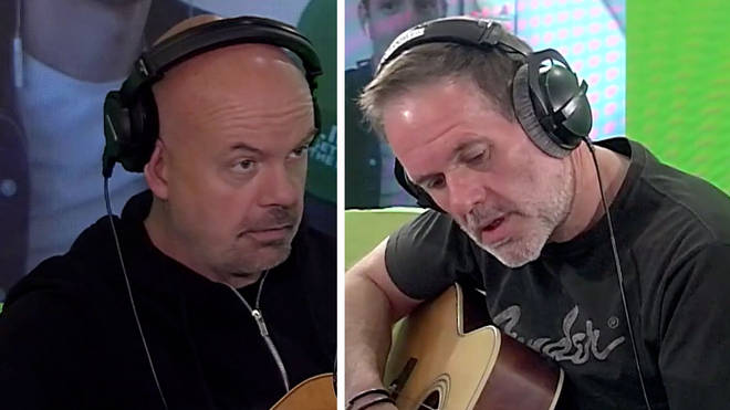 Dominic Byrne teaches Chris Moyles how to play the guitar in Dom's Big Slot