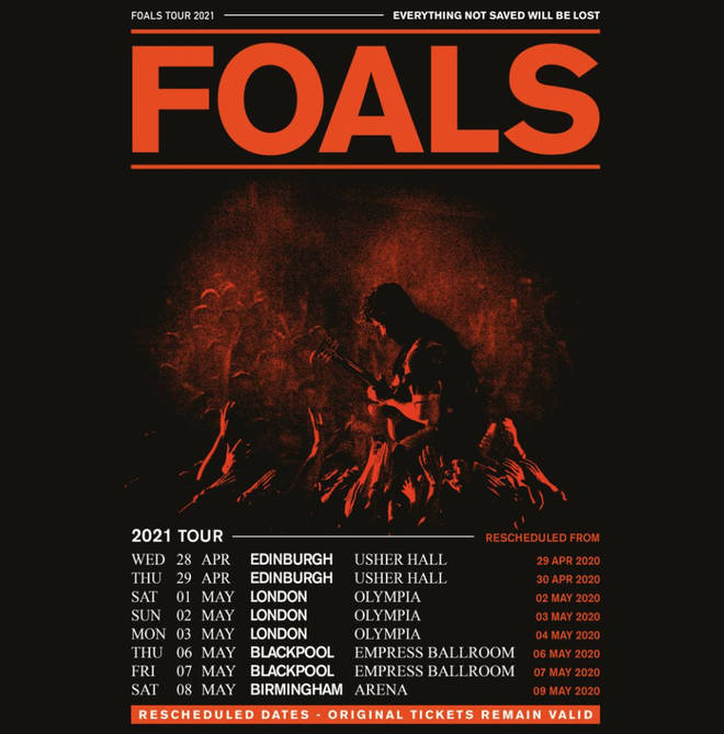 Foals announce rescheduled 2020 dates for 2021 tour poster