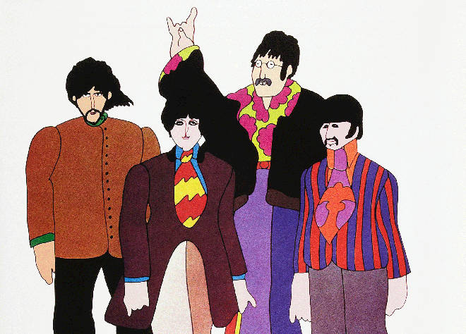 Animated versions of The Beatles in Yellow Submarine US poster