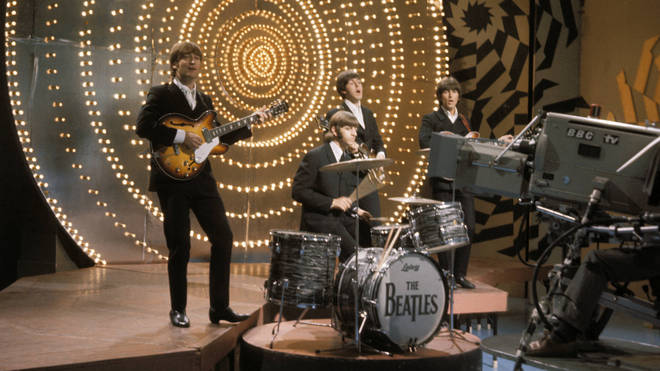 The Beatles performing live on Top Of The Pops in June 1966