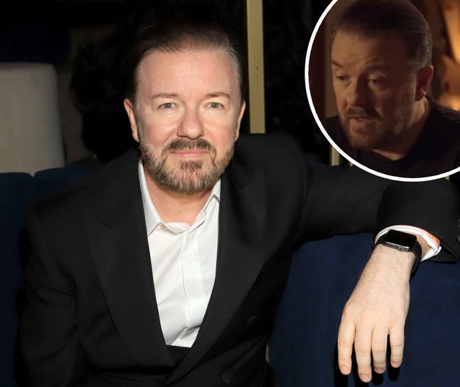 Ricky Gervais at the Golden Globes 2020 with screengrab of him in Netflix's After Life inset
