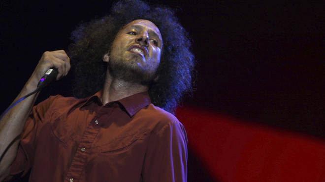 Zack de la Rocha of Rage Against The Machine performs in 2010