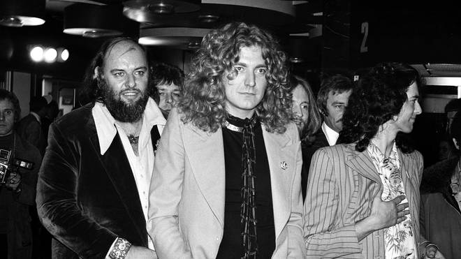 Led Zeppelin at the UK premiere of their film The Song Remains The Same with manager Peter Grant in November 1976