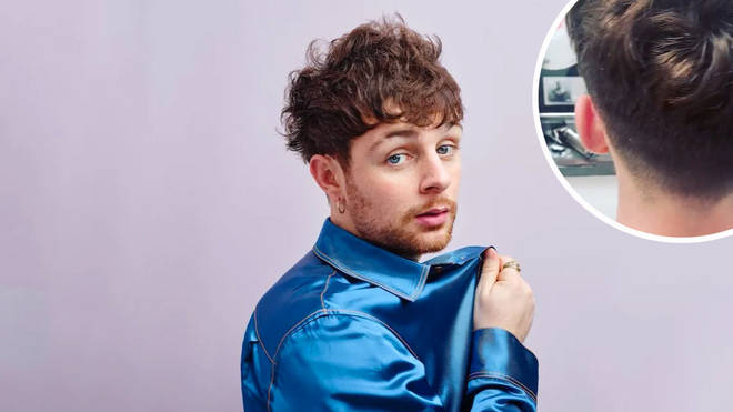 Tom Grennan with an image of his brother's freshly cut hair inset