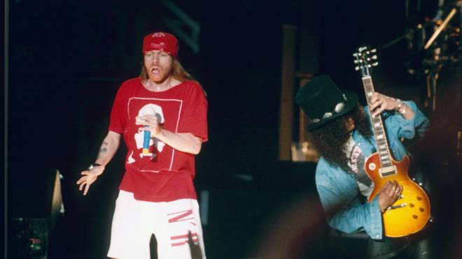 Guns N Roses performing live at the Milton Keynes Bowl, 1993