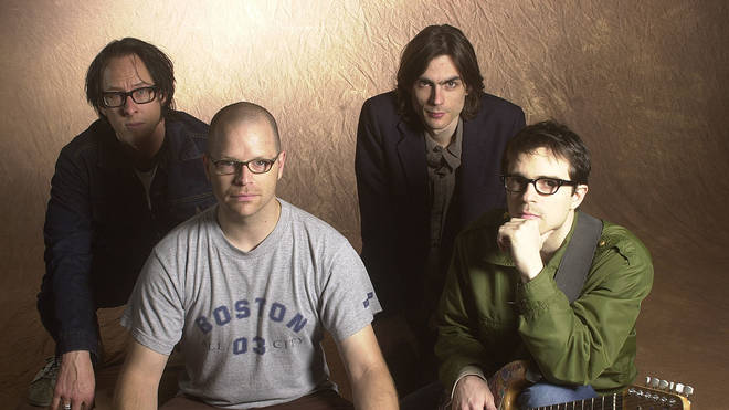 Weezer in 2001, after Rivers Cuomo's leg operation...