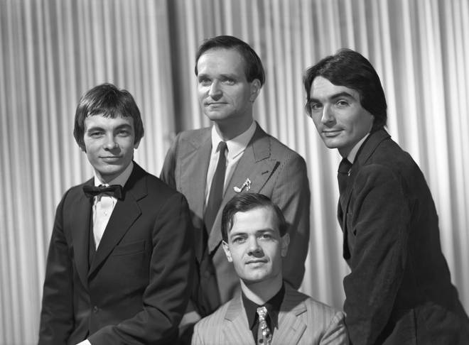 Kraftwerk in 1977: Florian Schneider is at the rear, Karl Bartos, Ralf Hutter (front) and Wolfgang Flur