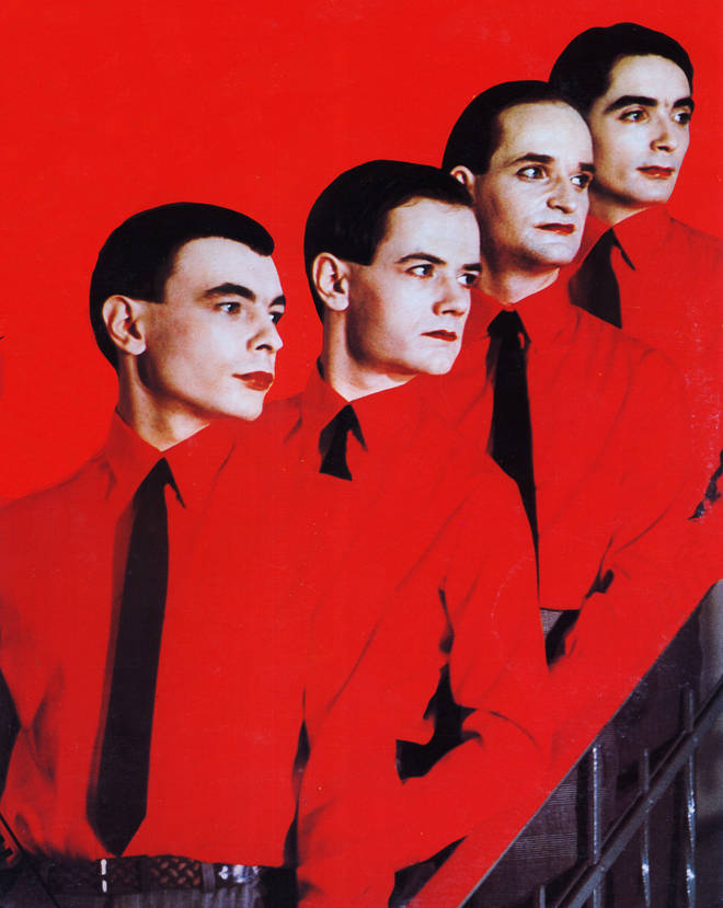 Kraftwerk line up for the Man Machine cover in 1978: Karl Bartos, Ralf Hutter, Florian Schneider and Wolfgang Flur