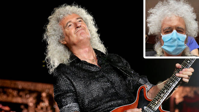Queen's Brian May with image of himself visiting hospital