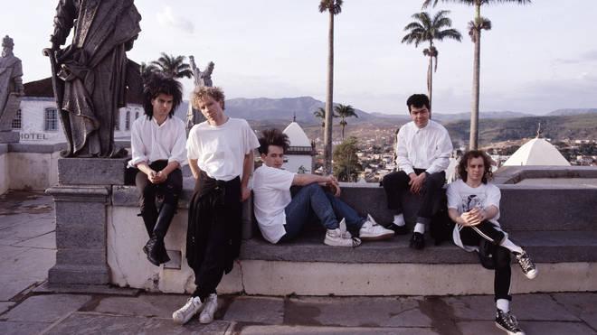 The Cure In Brazil, 1987:  Simon Gallup, Boris Williams, Robert Smith, Laurence Tolhurst and Porl Thompson.