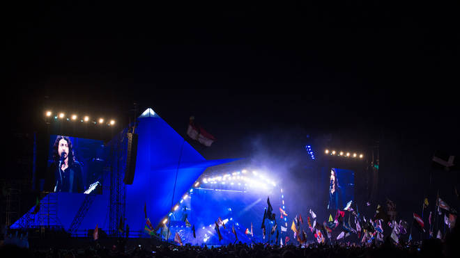 Foo Fighters perform in Glastonbury Festival's Pyramid Stage in 2017