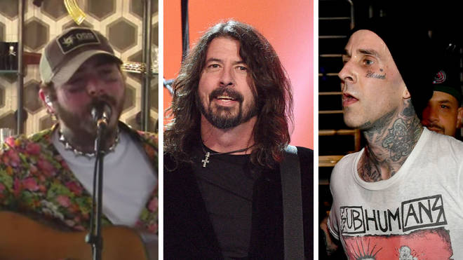Post Malone during his Nirvana tribute livestream, Foo Fighters' Dave Grohl and Blink 182 drummer Travis Barker