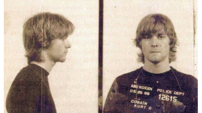 19 year-old occasional janitor Kurt Cobain is nicked by the Aberdeen police for graffiti, in May 1986.