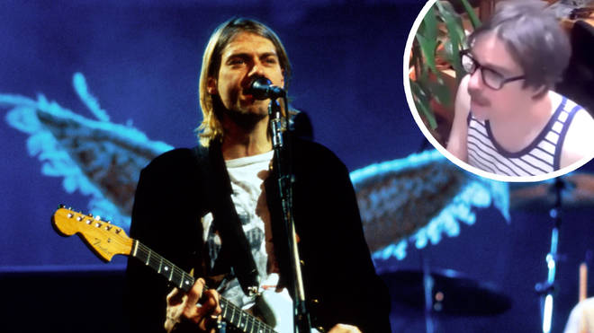 Late Nirvana frontman Kurt Cobain and Weezer's Rivers Cuomo inset