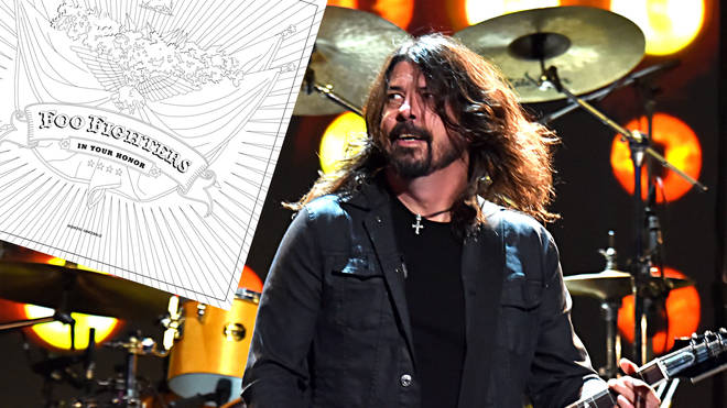Foo Fighters frontman Dave Grohl with the band's In Your Honour album inset
