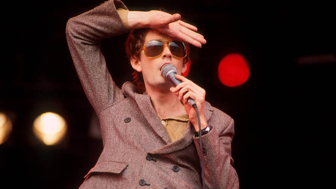 30-year-old Jarvis Cocker performing with Pulp on the NME stage at Glastonbury 1994