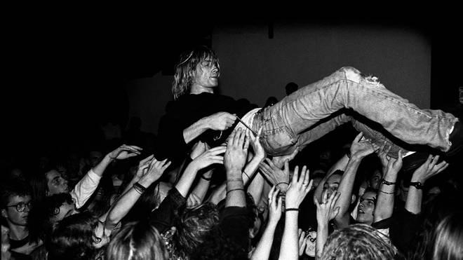 Kurt Cobain crowd surfs during a Nirvana show in Frankfurt, 12 November 1991