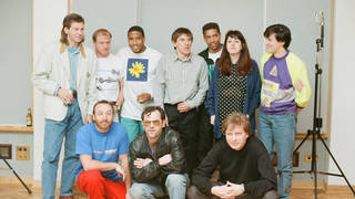 Some of New Order (and Tony Wilson) recording World In Motion with some of the 1990 England squad: Steve McMahon, Chris Waddle, Peter Beardsley, John Barnes and Des Walker