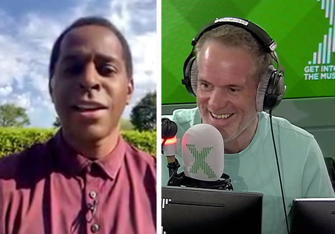 Chris Moyles FaceTimes Andi Peters during his live GMB link