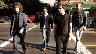 The Killers in 2004: Dave Keuning, Ronnie Vannucci, Brandon Flowers and Mark Stoermer