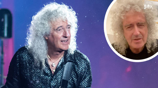 Queen's Brian May performs in 2020 with image of the guitarist inset