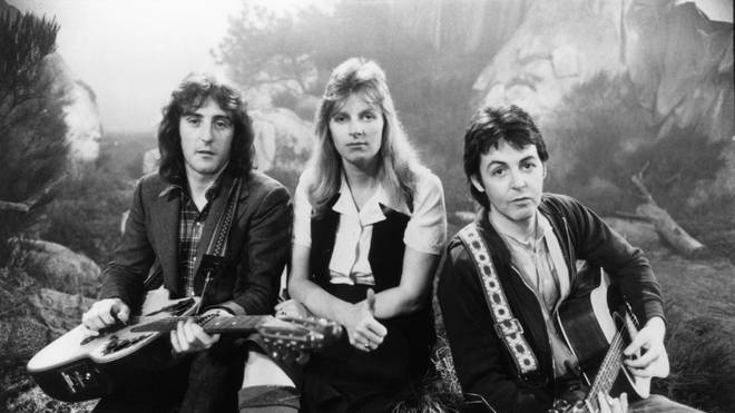 Wings members Denny Laine, Linda McCartney and Paul McCartney