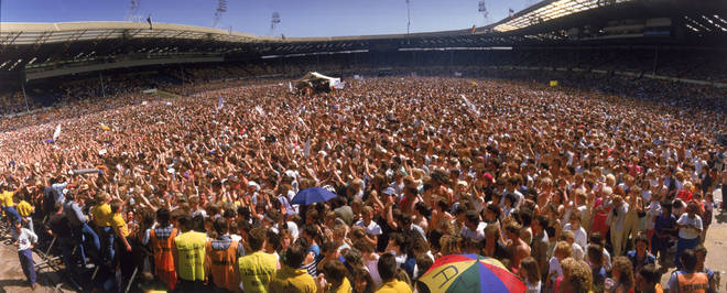 A panoramic view of the crowd at the Live Aid charity concert, Wembley Stadium, London, 13 July 1985