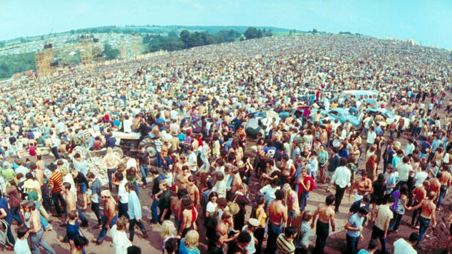 The huge crowd at Woodstock Festival in August 1969