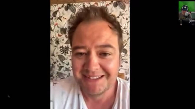 Alan Carr calls in live to The Chris Moyles Show