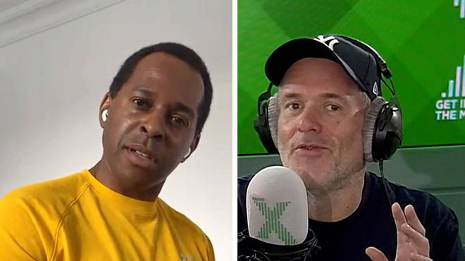 Andi Peters tries to read the news on The Chris-Moyles Show