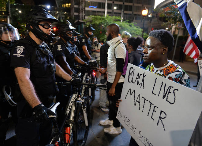 Following the death of George Floyd in Minneapolis, protest in downtown Charlotte in NC, United States on May 31, 2020