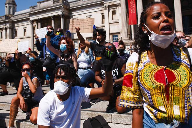 Activists gathered chanting slogans at Trafalgar Square, 31 May 2020